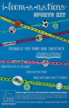 DIY Shrinky Dinks Sports Kit for Rainbow Loom, $12.99