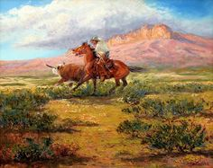 Two Bulls and a Horse, by Mike Capron; Cowboy Artwork, Texas Cowboys, Art Muse, Southwest Art, Western Art, Wyoming, Artsy Fartsy, Westerns, Favorite Things