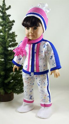 White, Royal Blue and Pink Fleece Ski Outfit made to fit 18 inch dolls by ILuvmCreations on Etsy