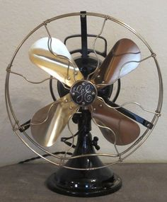 "Antique Vintage GE Star Oscillator 12"" Fan Brass Blades Cage Restored Stunning 