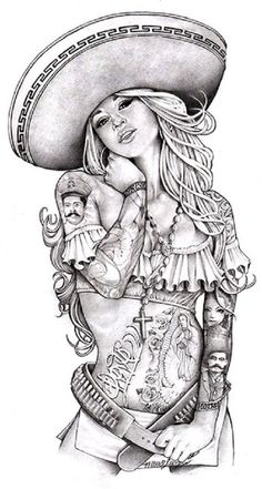Love Charra by Mouse Lopez Sexy Chicano Woman Tattoo Canvas Art Print