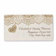 White lace & heart on burlap wedding custom shipping labels