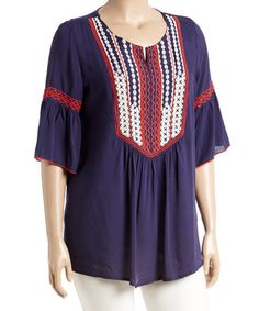 Another great find on #zulily! Blue Embroidered Bell-Sleeve Tunic - Plus #zulilyfinds