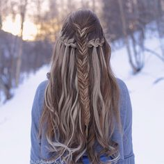 Half-up fishtail with a waterfall braid underneath, inspired by @bescene❤️ It's been so windy here lately, which is so annoying when you're trying to take braid pictures We feel like the wind has become our worst enemy ever since we started this braiding account Luckily we found shelter in the woods so that we could take this pic!