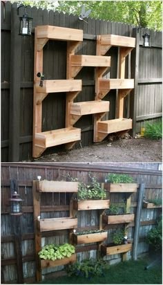 vertical gardening ideas with wooden fence. Another perfect way to grow strawberries but could use each compartment for different crop
