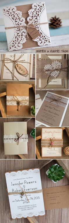wedding invites with creative rustic tags for 2017