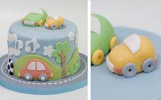 Pastel_personalizado_coches_juguete Fondant Flower Cake, Fondant Cakes, Cupcake Cakes, Fondant Bow, 3d Cakes, Fondant Tutorial, Construction Party Cakes, Buttercream Cake Designs, Ballerina Cakes