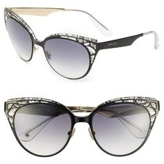 Jimmy Choo 'Estelle' Metal Cat Eye Crystal Lace 55mm Sunglasses ($355) ❤ liked on Polyvore