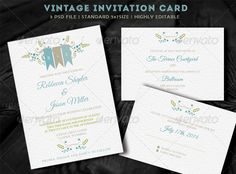 Vintage Wedding Invitation — Photoshop PSD #wedding set #royal • Available here → https://graphicriver.net/item/vintage-wedding-invitation/7870408?ref=pxcr