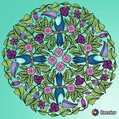 Bird mandala - flowers and leaves