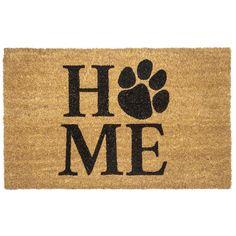 Pet Home 17 in. x 28 in. Non-Slip Coir Door Mat, Brown/Black