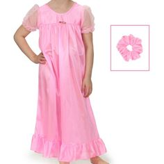 Laura Dare Big Girls Bright Pink Short Sleeve Peignoir Gown Robe Set w Scrunchie : Peignoirs : TomAndJerry com