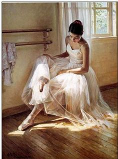 A Dancer Checking Her Pointe Shoes
