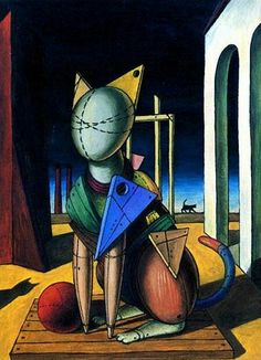 Catgallery: De Chirico painting shown here> I falsi gatti di Van Gogh… Mc Escher, Italian Painters, Italian Artist, Art Picasso, Art Du Monde, Metal Tree Wall Art, Metal Art, Magritte, Surrealism Painting