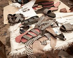 First order of business at the workshop: summer sandal reorders. Our Tyre sandals utilize recycled car tires for the soles and are based on a style the Maasai people wear. This style was the basis of me deciding to move our production to Kenya.