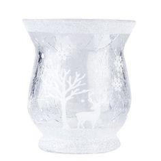 Small Woodland Scene Glass Tea Light Holder