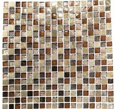 Squares Leather Boot Brown Blend Marble & Glass Tile Squar - contemporary - bathroom tile - Glass Tile Store