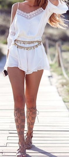 2017 Indie Boho Fashion - Summer Vacation Outfits for Womens - White Romper - Jewelry and Accessories at MyBodiArt.com