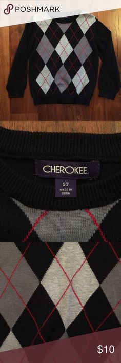 Boys Cherokee Black Argyle Sweater Size 5T Boys Cherokee Black Argyle Sweater Size 5T. I don't think this has ever been worn! Perfect condition! Great for holiday wear! Grey Argyle with red/pink detail. From a non-smoking and pet-free home. Bundle and save! Cherokee Shirts & Tops Sweaters