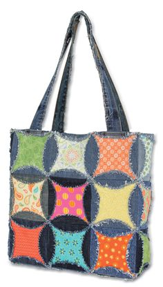 "Charming Circles Tote -- Create a fun tote using our new Charming Circles ruler, your upcycled denim, 5"" x 5"" fabric squares cut from your stash or pre-cut charm squares."