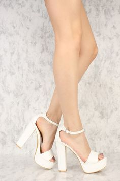 aa0a7038a51 White Open Toe Platform Pump Chunky High Heels Faux Leather