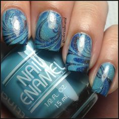 cute looks like the ocean Crazy Nails, Funky Nails, Nice Nails, Gorgeous Nails, Pretty Nails, Xmas Nail Designs, Pretty Nail Designs, Girly Stuff, Girly Things