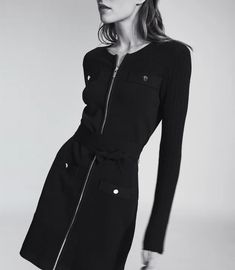 Emily Black Knitted Mini Dress With Zip Detail – REISS Black 7, Black Knit, Iconic Dresses, Reiss, S Models, Dress Collection, Nike Jacket, Work Wear, Dressing