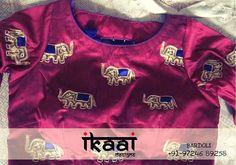 Elephant Motifs on Designer Blouse  #Fashion #FashionGram #FashionDairy #HandMade #HandWork #HathiStory #InstaDaily #InstaStyle #EmbroideryDetails #Designer #DesignerWear #IkaaiMotifs #IkaaiDesigns #Bardoli
