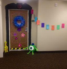 Monsters Inc. door decoration for Halloween