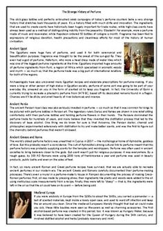 The Strange History of Perfume - Reading Comprehension Worksheet / Text English Reading, Learning English, English Class, English Lessons, Comprehension Exercises, Reading Comprehension Worksheets, Comprehension Questions, Active Voice, Cambridge Igcse