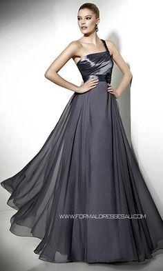 Empire Waist One Shoulder Beaded A-line Long Formal Dress PLFD266