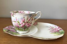 """Royal Albert """"Blossom Time"""" Tea Cup with Snack Plate, Pink and Green Trees, Vintage Teacup and Plate, English Bone China by CupandOwl on Etsy"""
