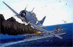 Batalla de Midway 4 junio de 1942, El IJN Kaga siendo atacado por un Douglas SBD Dauntless. Ilustracion de D. Gray. Más en www.elgrancapitan.org/foro