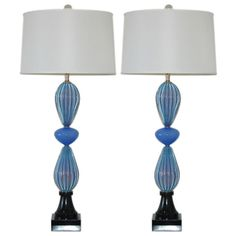 Seguso Lavender Blue Opaline Murano Lamps on Black Lacquer