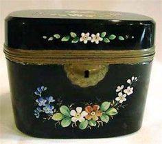 Enameled Black Opaline Art Class Casket Box Antique Boxes, Glass Boxes, Opaline, Casket, Trinket Boxes, Glass Art, Planter Pots, Container, Enamel