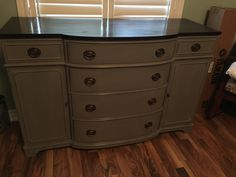 Duncan Phyfe style Sideboard painted in General Finishes driftwood mixed with millstone