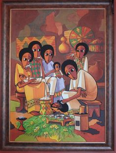 Harambe Ethiopian Restaurant African Art Gallery Original Oil Painting 1