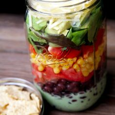 Layered Taco Salad With Cilantro-Lime Dressing: Are you loving packing salads in mason jars for lunch?