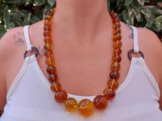 Natural amber statement necklace / large mexican amber bead   Etsy Love Bracelets, Bangle Bracelets, Amber Necklace, Beaded Necklace, I Love Mexico, Amber Beads, Boho Rings, Healing Stones, Stone Rings