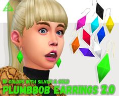 """tamo-sim: """" UPDATE! Updated my """"plumbbob earrings"""". 10colors with silver and gold. 1) Compatible with the gender patch, 2) fixing some minor issues (Now they work fine with @kijiko-sims's 3D Eyelashes ), 3) new CAS thumbnails. DOWNLOAD on my..."""