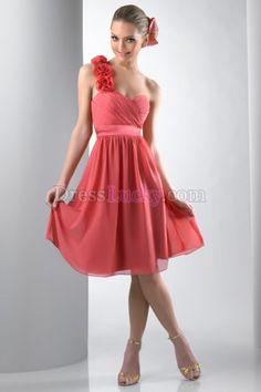 One Shoulder Zipper Up Empire Sleeveless Knee-length Chiffon Bridesmaid Dresses BD2BBC