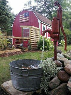 Super Creative backyard shed landscaping ideas just on kennys landscaping design - All For Garden Backyard Playhouse, Backyard Sheds, Ponds Backyard, Shed Landscaping, Landscaping With Rocks, Landscaping Design, Old Water Pumps, Natural Pond, Backyard Water Feature