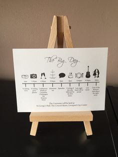 10x Order of the Wedding Day Timeline cards