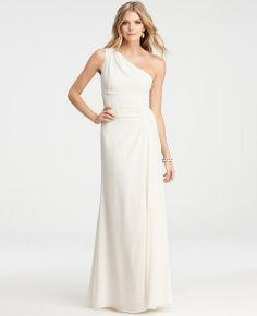 Silk Crepe One Shoulder Gown