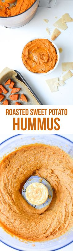 This roasted sweet potato hummus recipe was originally posted to the blog in 2013, but was deserving of new photography so I'm re-publishing it today with new text and pictures. I eat it with pita chi #Jamiesveganandvegetarianrecipes
