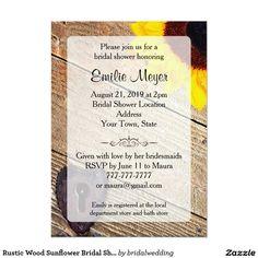 Rustic Wood Sunflower Bridal Shower Invitation