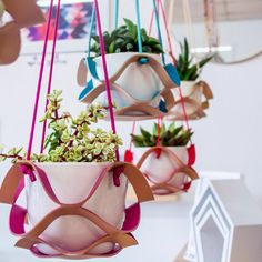Colour Pop Plant Hangers available from us and #collected. #leatherplanthanger #hangingplanter #planthanger Thanks @leah_mh for the great photo!