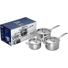 Le Creuset 3 Ply Stainless Steel Saucepan Set from Sands Cookware Le Creuset, Wedding Gift List, Stainless Steel Pans, Metal Tools, Herd, Cookware Set, Aluminium, Stoneware, Dishwasher