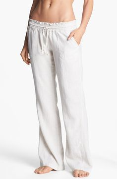 White low waisted linen looking pants| Beach Pants Your Summer Wardrobe Needs by Julia Friedman
