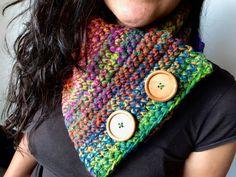 Cuellito con botones de #TejidoConAmor #hechoamanoconamor #handmade #woolcowl